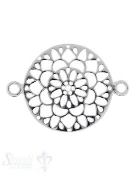 Silberteil mit Doppelösen:Blumenmuster durchbrochen 22x16mm Dicke: 0.9 mm