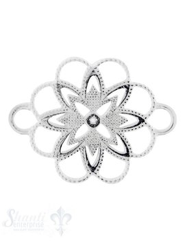 Silberteil mit Doppelösen:Blumenmuster durchbrochen 27x20mm Dicke: 2.05 mm