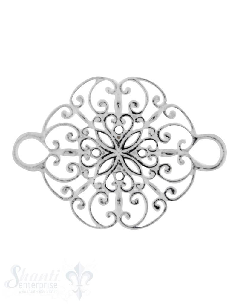 Silberteil mit Doppelösen:Blumenmuster durchbrochen 27x19mm Dicke: 1.3 mm