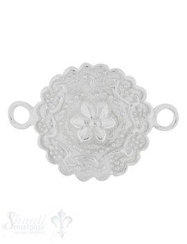Silberteil mit Doppelösen: Amulett mit Blumenmuster 29x21mm Dicke: 1.9 mm gebogen