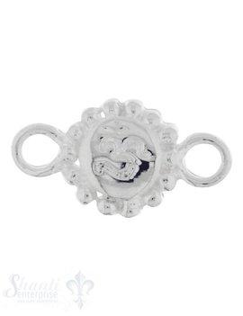 Silberteil mit Doppelösen: Amulett mit Om 20x11mm Dicke: 3.2 mm poliert