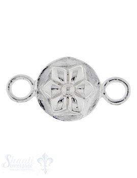 Silberteil mit Doppelösen: Amulett mit Blume 21x11mm Dicke: 4 mm poliert