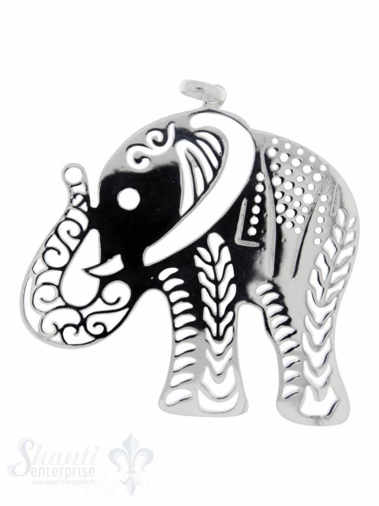 Silbertier: Elefant durchbrochen poliert 55x55 mm Dicke:1mm