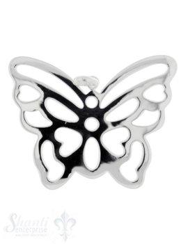 Silbertier: Schmetterlingt durchbrochen poliert 32x51 mm Dicke:1mm