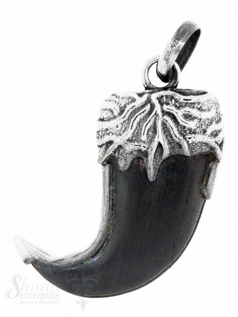 Silberanhänger: Holzzahn mit Si-Fassung mit Maser- rung geschwärzt, 40x23 mm