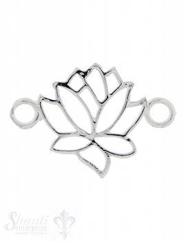 Silberteil mit Doppelösen: Lotus durchbrochen 27x18mm Dicke: 2.4 mm