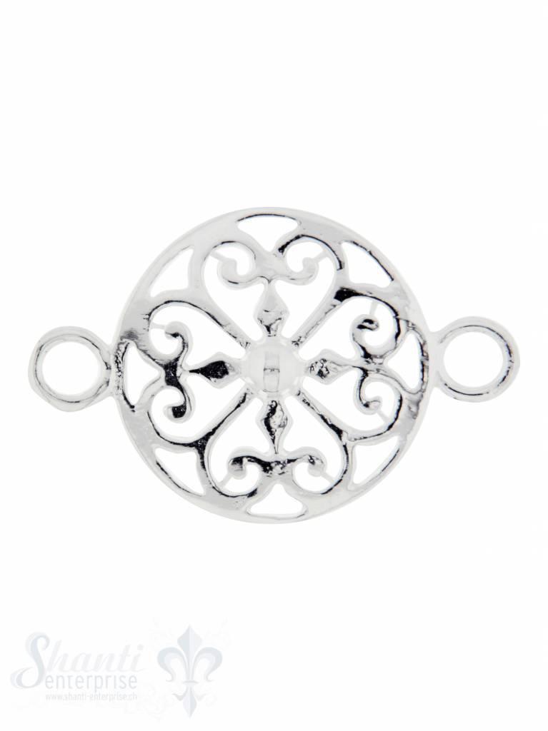 Silberteil mit Doppelösen: Amulett 27x18mm Dicke: 2.4 mm