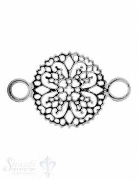 Silberteil mit Doppelösen: Amulett durchbrochen 26x16mm Dicke: 1.5 mm