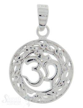 Silber-Anhänger: Om Zeichen rund mit Öse 13 mm Dicke: 1.18mm