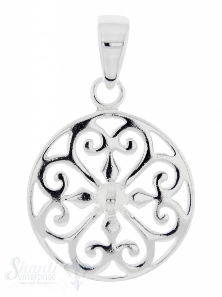 Silberanhängerr: Amulett durchbrochen D: 18mm Dicke: 1.4mm mit Öse
