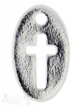 Si-Anhänger: Plaquetten oval mit Kreuz 14x8mm Dicke: 0.9mm Loch 0.75mm