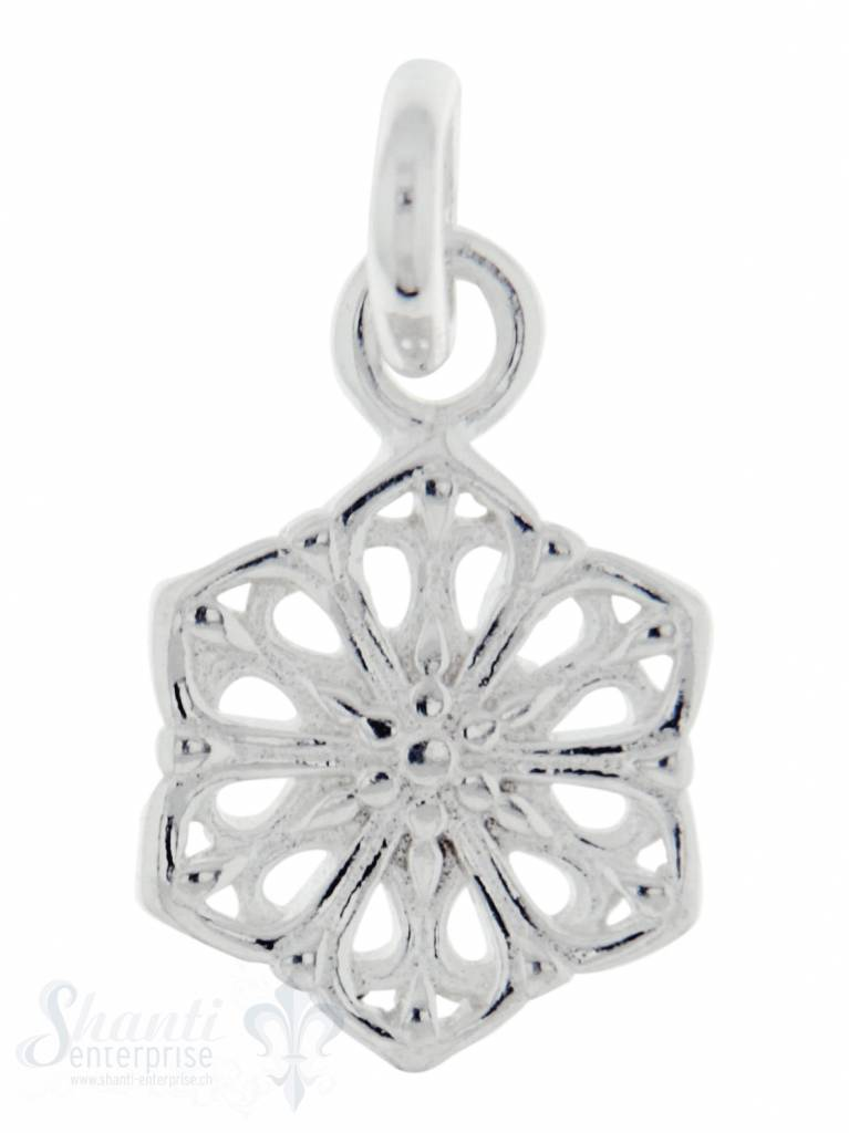 Silberanhängerr: Amulette Blume durchbrochen D 11mm Dicke: 1.5mm