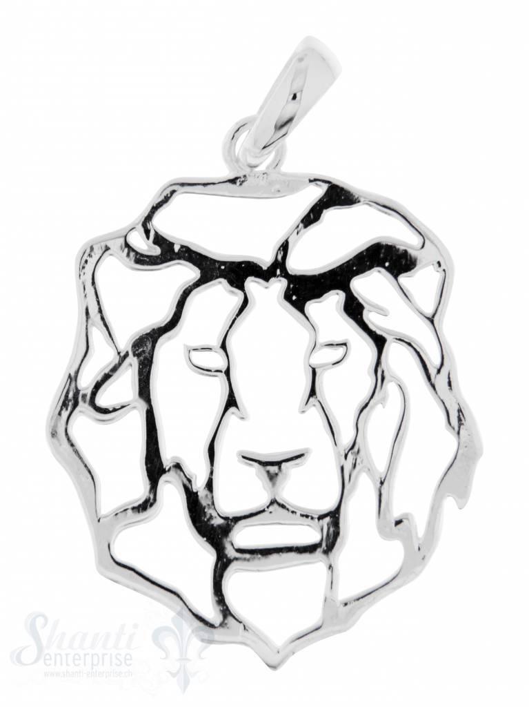 Silbertier: Löwe flach durchbrochen 34x27mm Dicke:1.15mm mit Öse