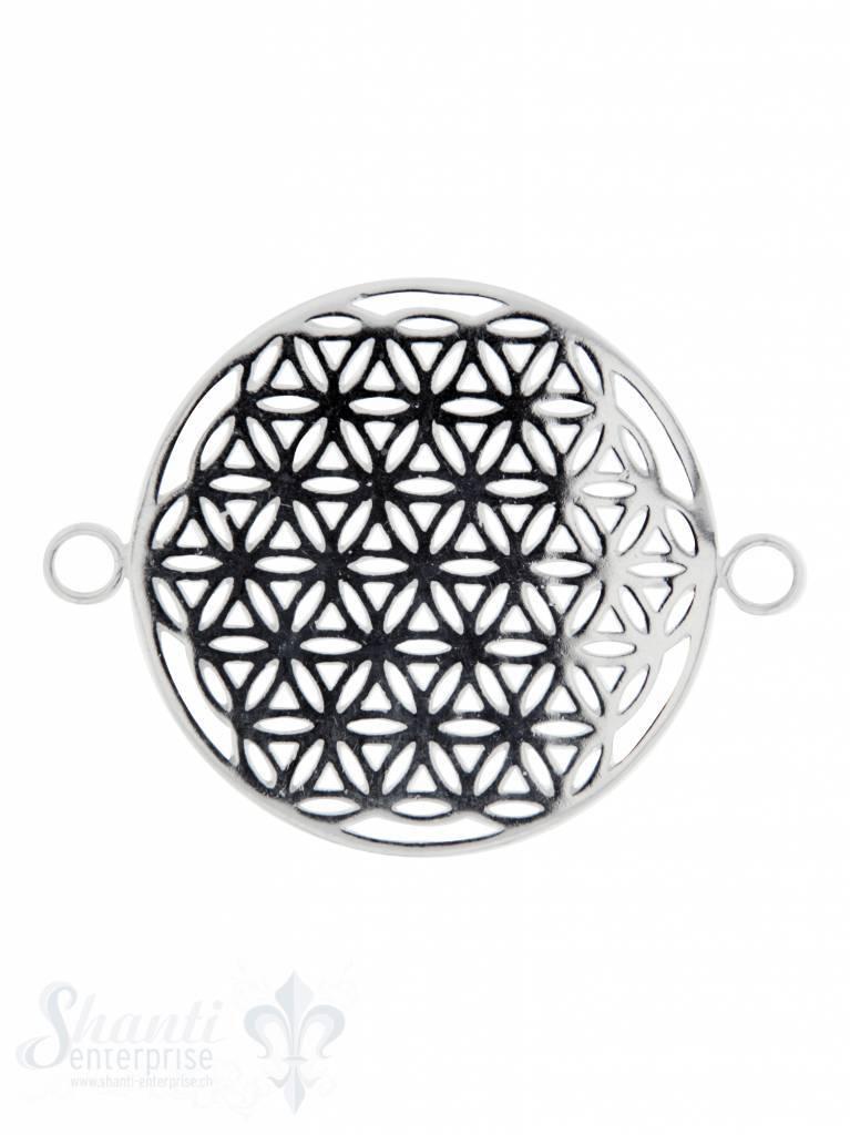 Silberteil mit Doppelösen: Blume des Lebens 37x28mm Dicke: 1 mm durchbrochen