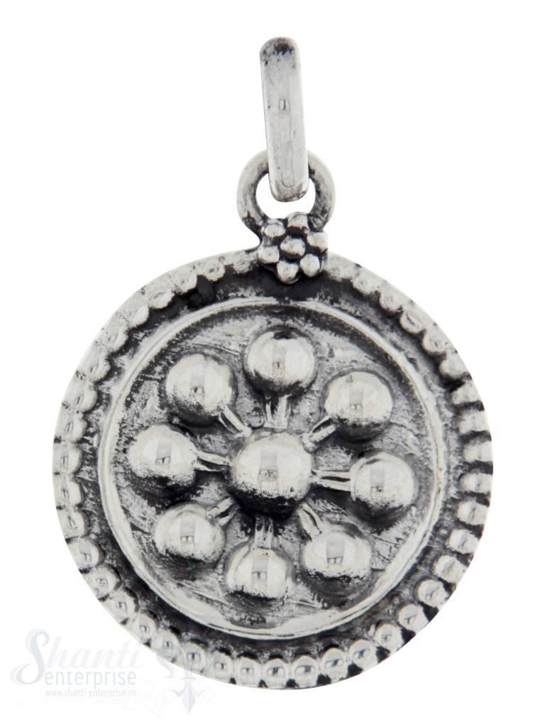Silberanhängerr: Amulett mit Blumenmuster leicht D: 18mm Dicke: 2mm