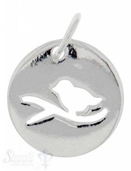 Silbertier: Vogel in Plaquette durchbrochen 12mm Dicke: 0.9 mm