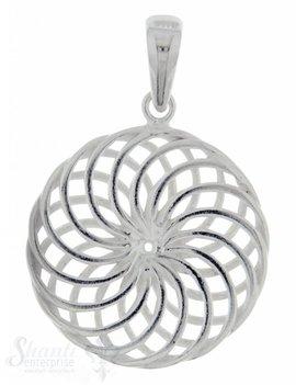 Silberanhängerr: Amulett mit Blumenmuster D: 20mm Dicke: 2mm