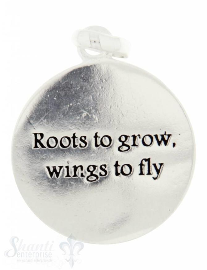 Si-Anhänger: Plaquetten rund mit Text D: 16mm Dicke: 0.85mm Roots to grow wings to fly