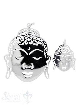 Silberanhänger: Buddha poliert mit Öse durchbrochen