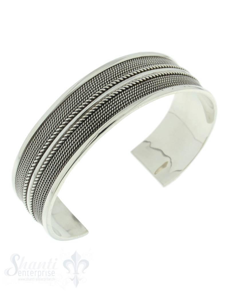 Silberspange: Schnurmuster mit Mittelstreifen 11 mm breit