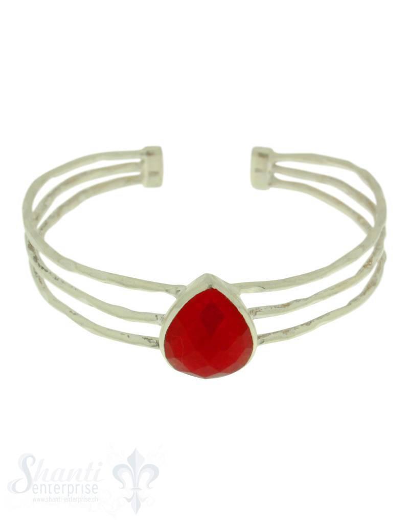 Si-Armspange:Achattropfen gefärbt,Schiene 3-reihig rubinfarbig