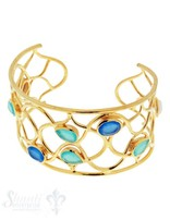 Si-Armspange: mit Steinen blau, aqua, weiss, Geflecht lose, gelb vergoldet, B: 37 mm