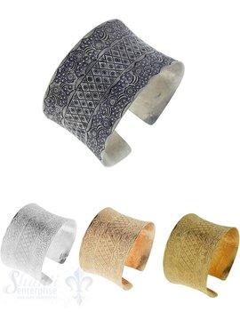 Si-Armspange: Rhombenmuster u. Blütenranken antik gebuchtet,42 mm