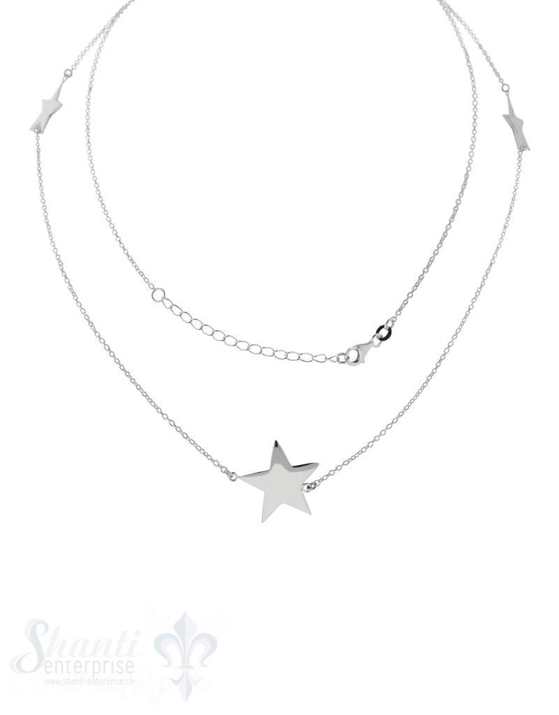 Silberkette: Anker mit 3 Silbersternen 85 cm mit Karabiner