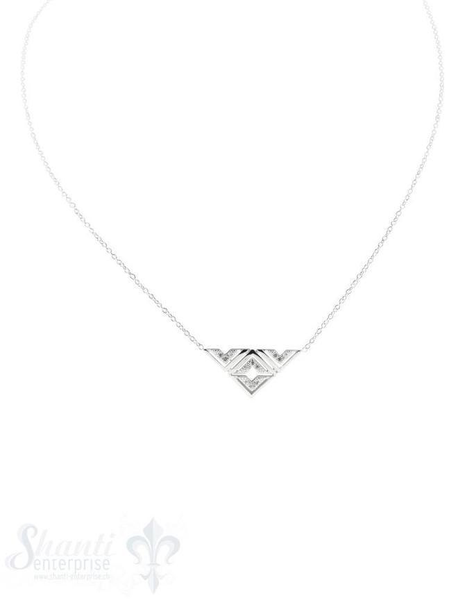 Halskette fein mit Zwischenteil Dreieck mit CZ 21x10 mm Grössenverstellbar 42-50 cm