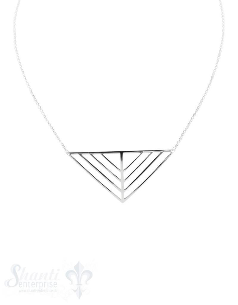 Halskette fein mit Zwischenteil Dreieck geometrisc h \21x10 mm Grössenverstellbar 41-45 cm