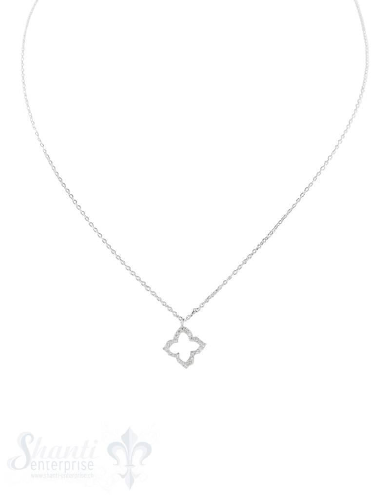 Halskette fein mit Anhänger Blumenumrandung mit Zirkonia 11 mm, Grössen verstellbar 43 - 46 mm