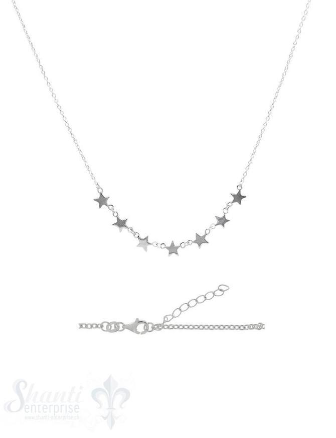 Halskette fein in der Mitte 7 Sterne 6 mm poliert, Grössenverstellbar 42-45 cm