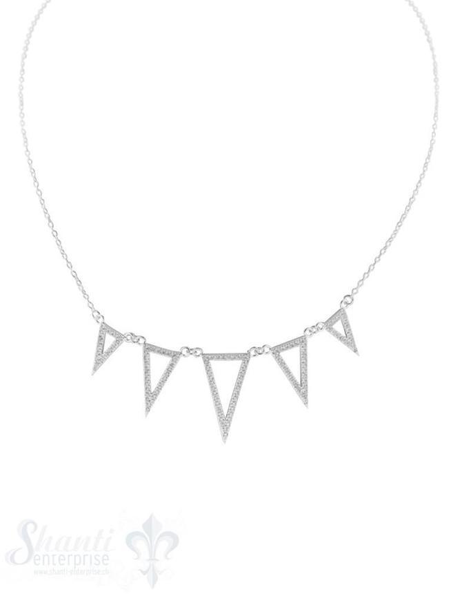 Halskette fein 5 spitzige Dreiecke mit Zirkonia im Verlauf H 20-12 mm, Grössen verstellbar 41 bis 44 cm