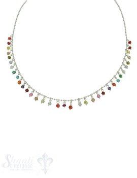 Halskette Si-Kügeli mit vielen Anh. Regenbogen, Zirkonia, fein Grössen verstellbar 42-45 cm
