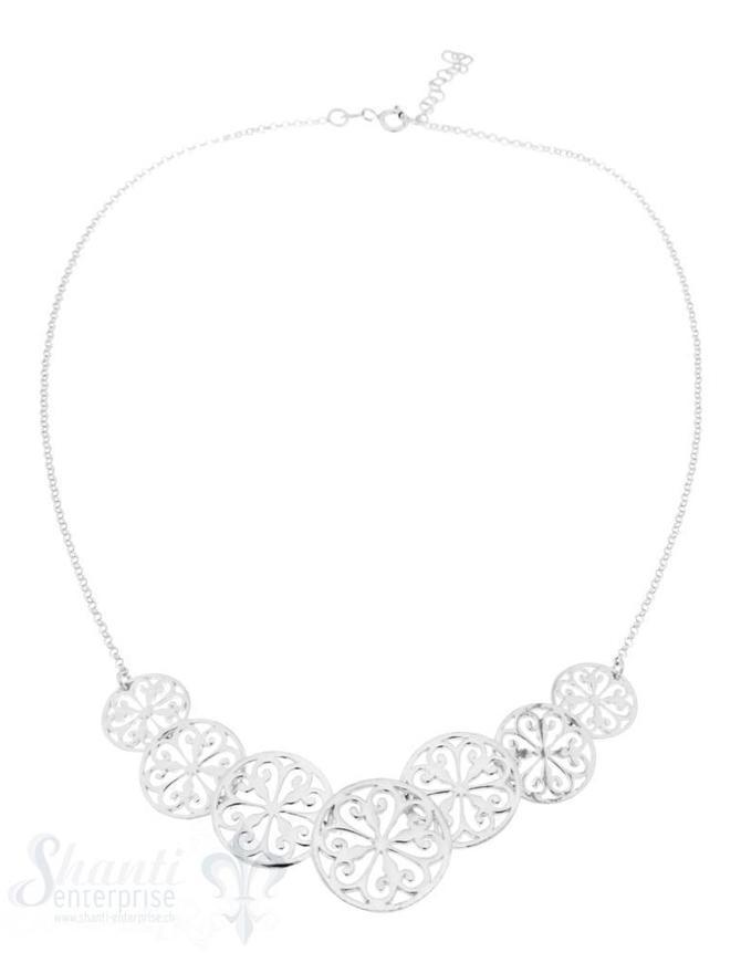 Halskette, Silber,fein, mit Mandala-Reihe 12-18 mm ,Länge8,5 cm Grössen verstellbar 42-45cm