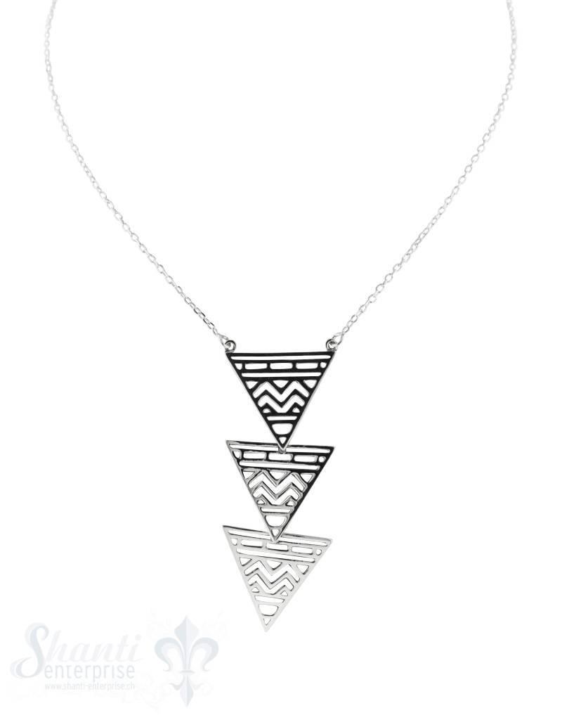 Halskette, Silber,fein,Dreieckpyramide verz. ge- schwärzt19x19x19 mm, 75 cm