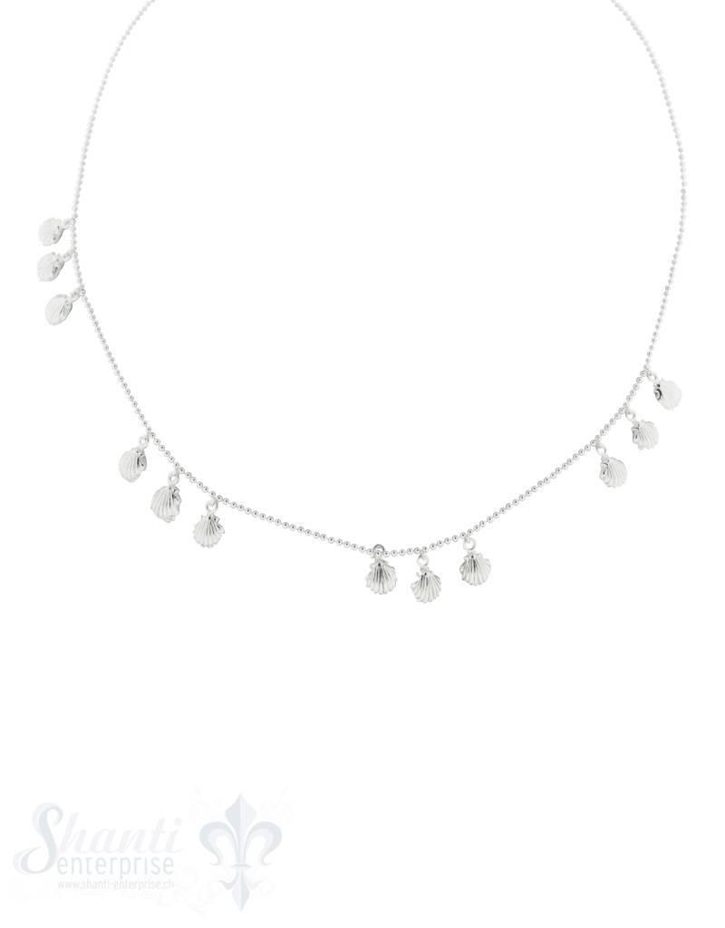 Halskette Kügeli fein mit 5x3 Muscheln 6 mm polier t, Grössen verstellbar