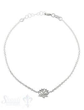 Silberarmkette Anker mit Lotusblume in Mitte Federringschloss, Länge 17/19 cm verstellbar