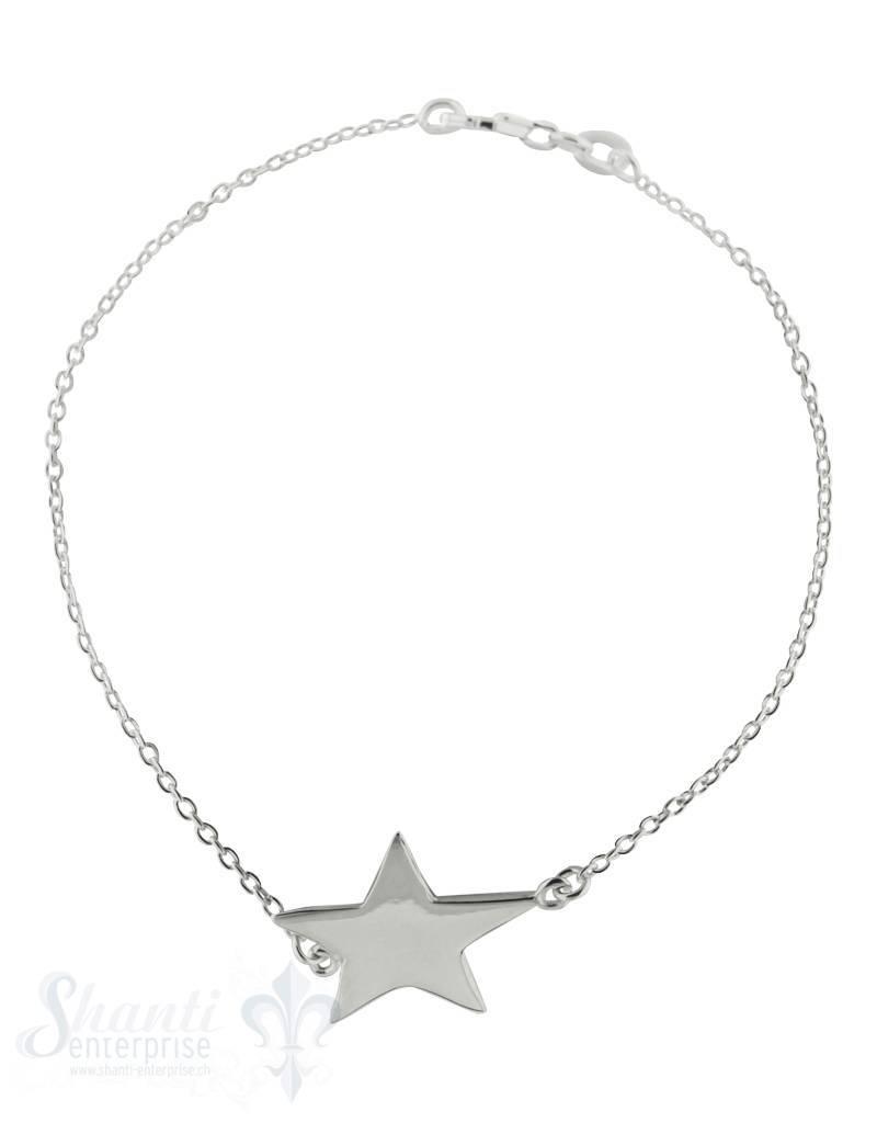 Silberketteli Anker mit Stern mittel Grössenverstellbar 16,5-19 cm