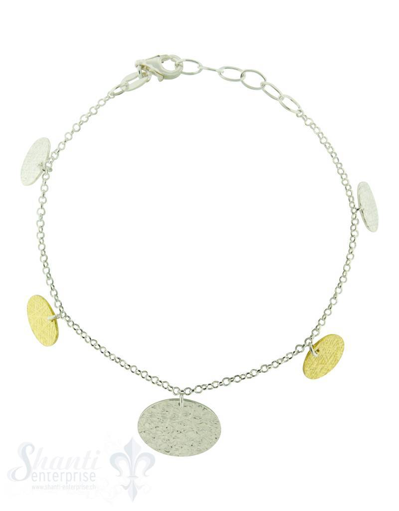 Silberarmkette mit 5 Scheiben hängend, 2 in gelb vergoldet Flash, Länge 17/19 cm verstellbar