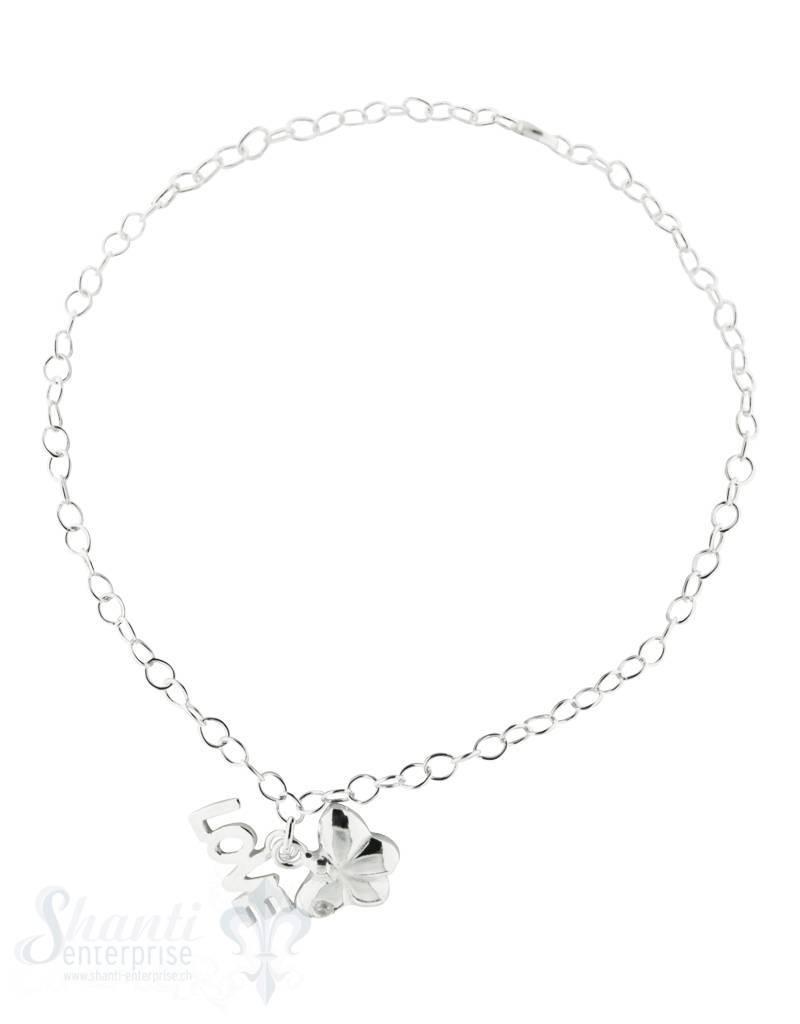 Silberarmkette: Anker fein mit Charms:Love u. Schmetterling, Grössenverstellbar 19 cm