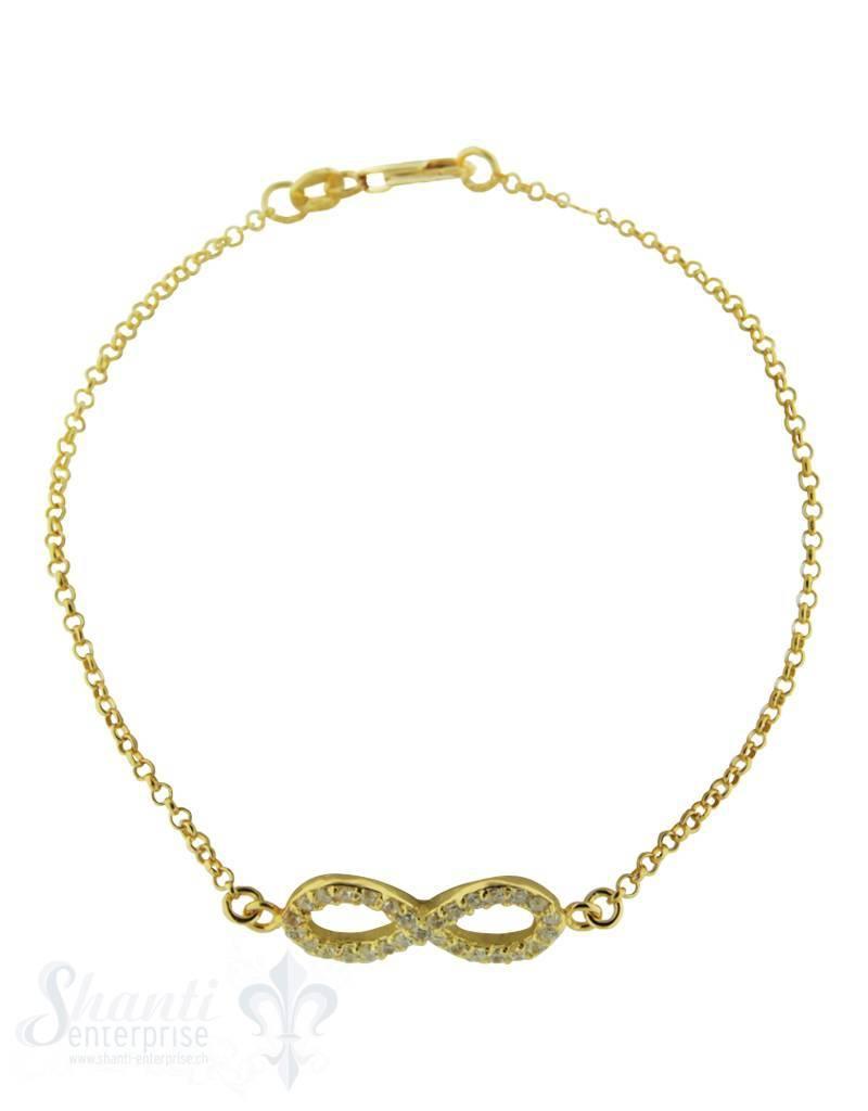 Silberarmkette: Anker mit Swarovski-Acht gelb verg oldet (Flash) Länge: 19 / 18 cm verstellbar