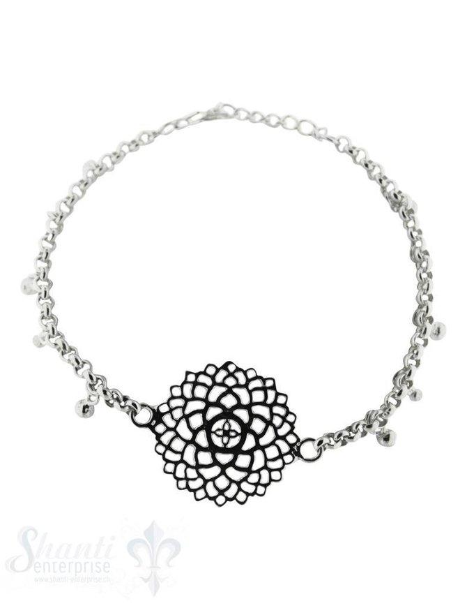 Armkette,Silber Rollo mit Zw.Teil Mandala Grössen verstellbar 16-18,5 cm