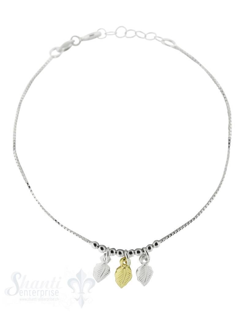 Silberarmkette mit 3 Blättern, 2 Silber, 1 x gelb vergoldet Flash, Länge 17/19 cm verstellbar