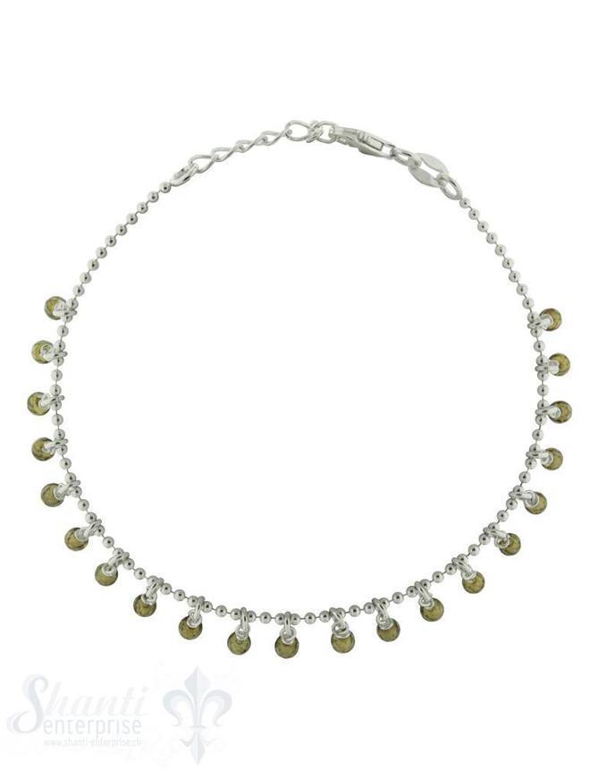 Armkette Si-Kügeli mit vielen Anh, oliv farbiger Zirkonia fein Grössen verstellbar 17-19 cm