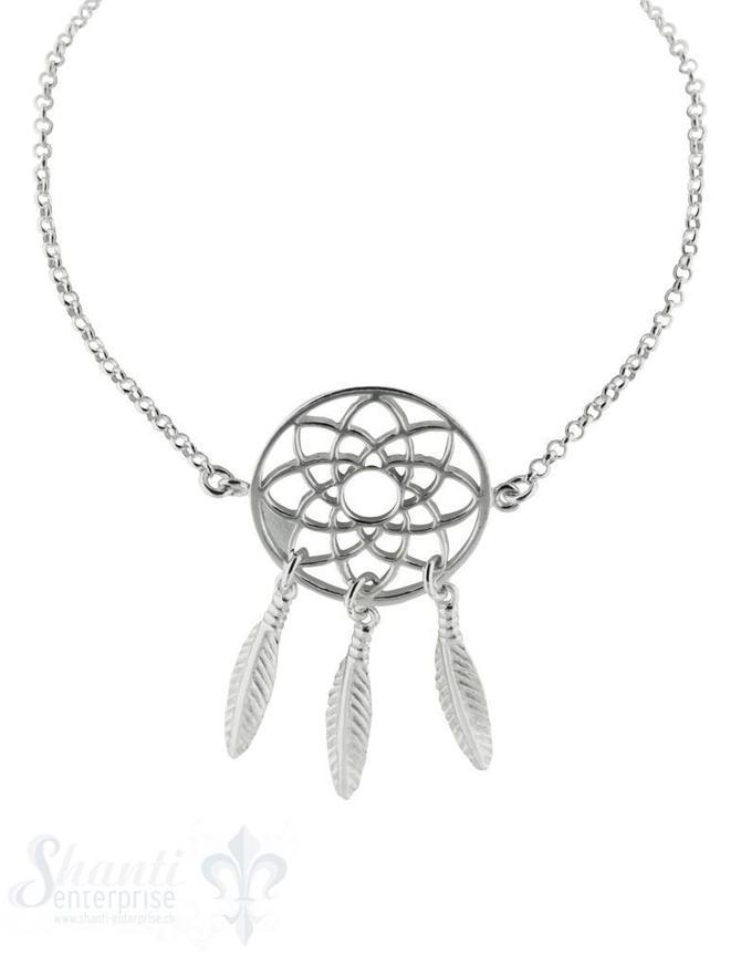 Armkette, Silber,fein,Traumfänger 20 mm, Grössen verstellbar 16-19 cm