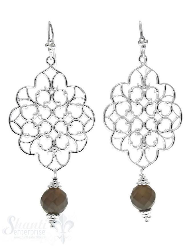 Ohrhänger mit Bügel: Amulett filigran  L: 6 cm, B: 2.5 cm