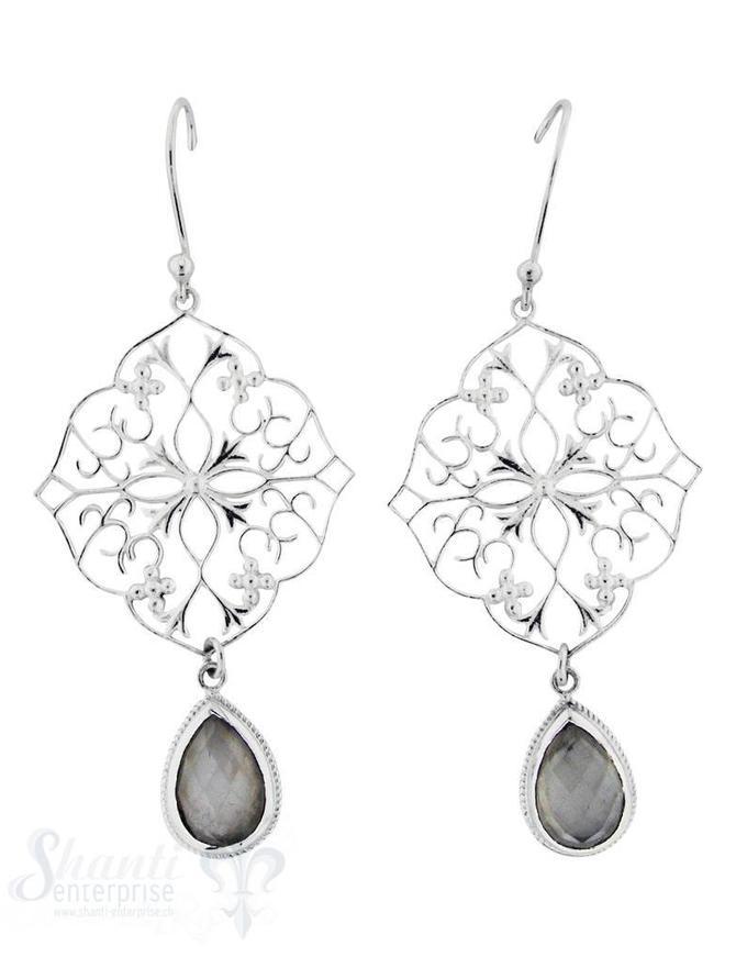 Ohrhänger mit Bügel: Medaillon Ornament mit Stein- Tropfen 30x48 mm