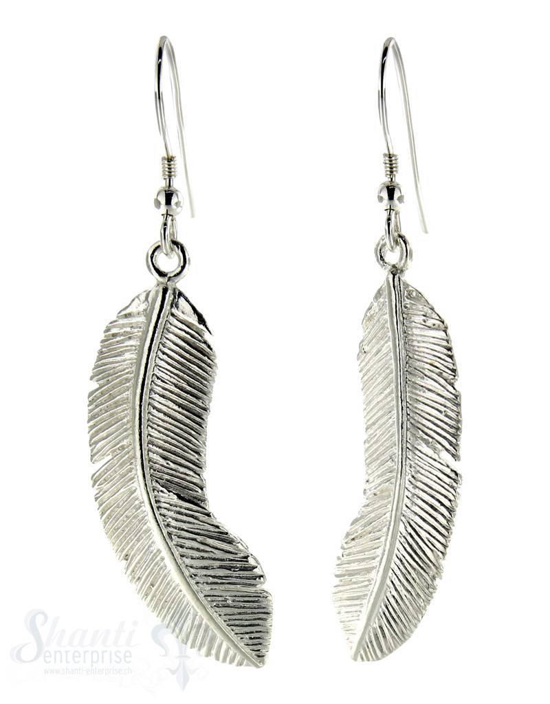 Ohrhänger Silber Federn leicht gebogen 13x32 mm mit Bügel
