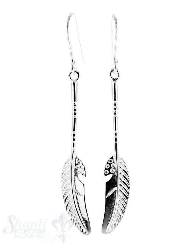 Ohrhänger: Feder hängend mit Stiel 8x25 mm